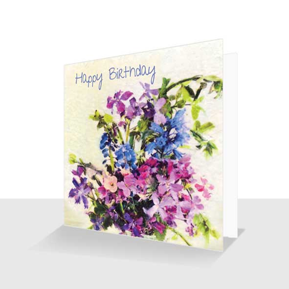 Floral Birthday Card Honesty And Bluebells