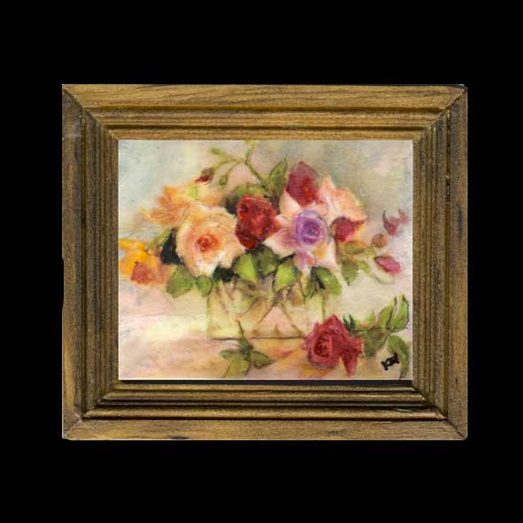 Art Painting Of Roses On Glass In Frame