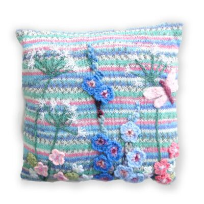 Luxury Hand Knitted and Embroidered Floral Cushion - Dragonfly