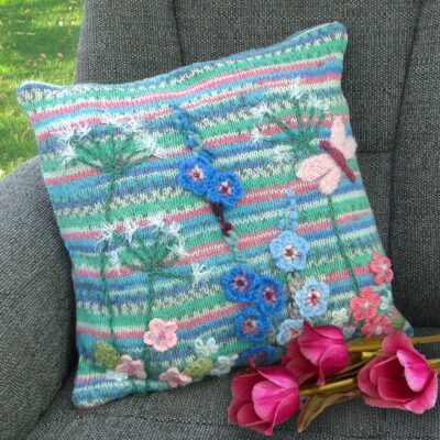 Luxury Hand Knitted and Embroidered Floral Cushion - Dragonfly Accent Cushion