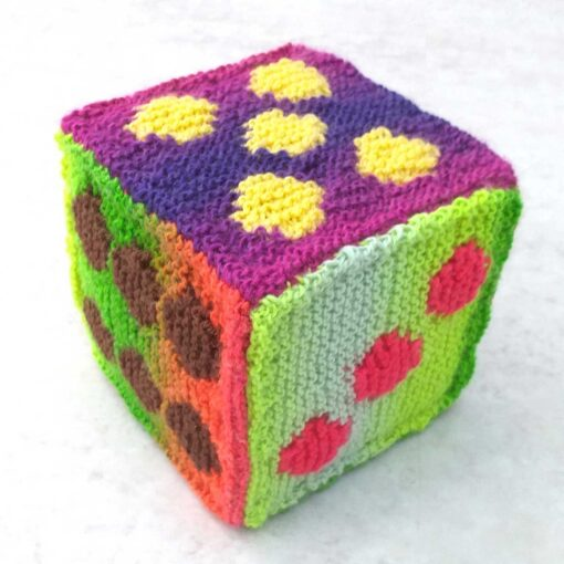 """Play Dice Soft Toy Large 6""""/15cm Hand Knitted Gift"""