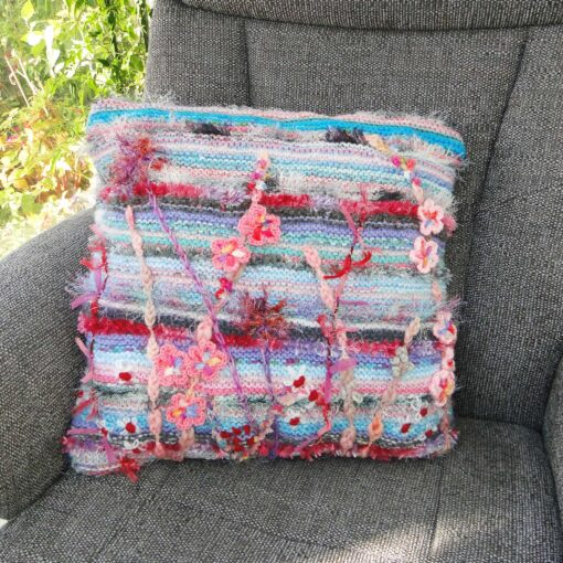 Luxury Knitted and Embroidered Floral Cushion