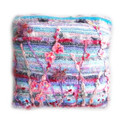 Pink and Grey Luxury Cushion - Luxury Knitted and Embroidered Floral Cushion