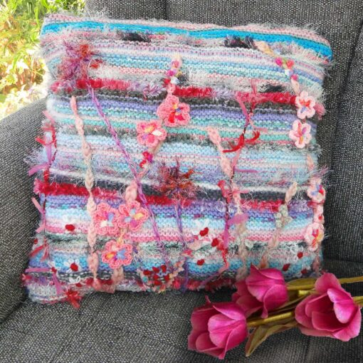 Pink and Grey Luxury Cushion - Luxury Knitted and Embroidered Floral Accent Cushion