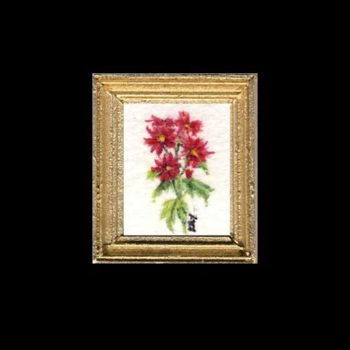Pink Asters Miniature Dollhouse Painting