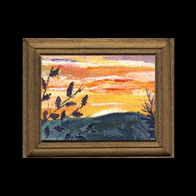 Sunset- Miniature Embroidered Textile Art Picture