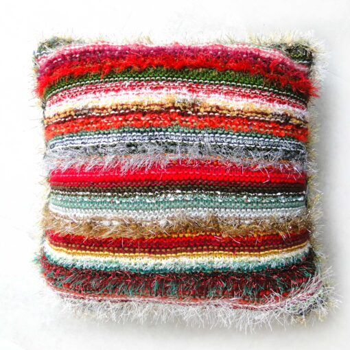 Christmas Decorative Cushion-Luxury Hand Knitted Scatter Cushion with Red Velvet Back