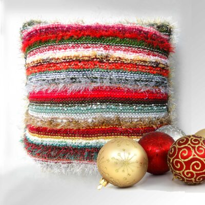 """Christmas Decorative Cushion 17""""Square-Luxury Hand Knitted Scatter Cushion with Red Velvet Back"""