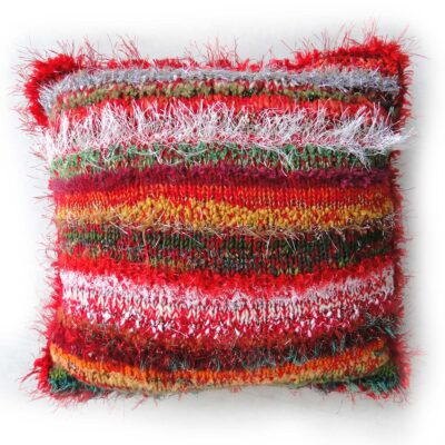 Decorative Christmas Cushion-Luxury Hand Knitted Scatter Cushion with Red Velvet Back