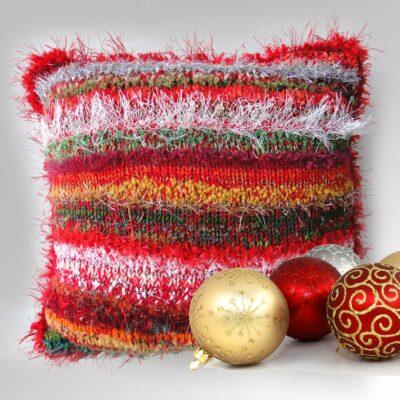 """Decorative Christmas Cushion 15""""Square-Luxury Hand Knitted Scatter Cushion with Red Velvet Back"""