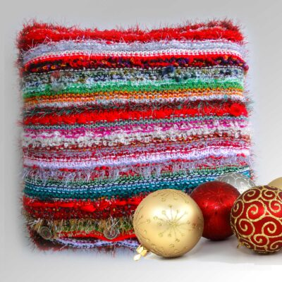 """Christmas Decorative Cushion 18""""Square-Luxury Hand Knitted Button Cushion with Red Velvet Back"""