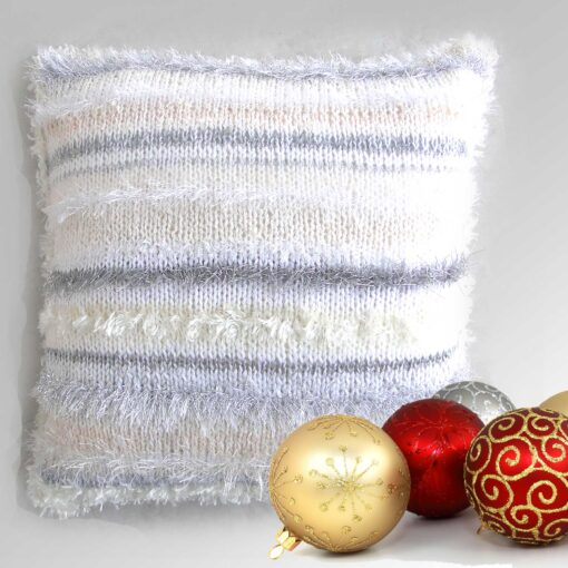 """Christmas Cream Accent Cushion 15""""Square-Luxury Hand Knitted Sparkly Cushion with Cream Velvet Back"""