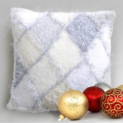 """Christmas Diamond Accent Cushion 15""""Square-Luxury Hand Knitted Sparkly Cushion with Cream Velvet Back"""
