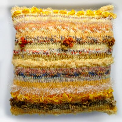 """Luxury Ochre Yellow Cushion 15""""Square-Unique Hand Made Accent Cushion with Yellow Damask Back"""